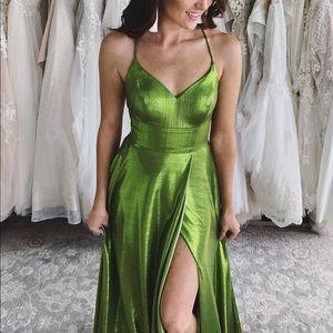 Sexy Green Metallic Prom Dress Laceup Back/Slit